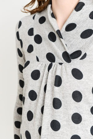 Dot Shawl-Collared Maternity Sweater