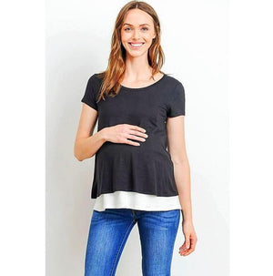 Double Layer Maternity and Nursing Top - MaternityNBeyond