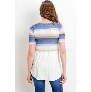 Stripe Color Block Maternity/Nursing Tunic - MaternityNBeyond