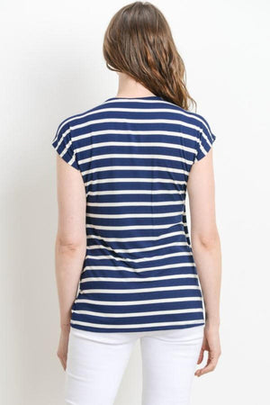 Navy Striped Maternity & Nursing Top