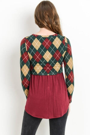 Plaid Sweater Maternity & Nursing Top