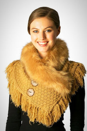 Knitted Neck Warmer with Faux Fur Collar