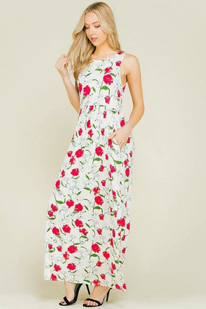 Sleeveless Maxi Maternity Dress with Hidden Pockets