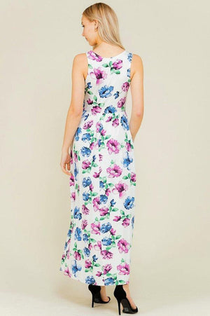 Ivory Shirring Maxi Maternity Dress