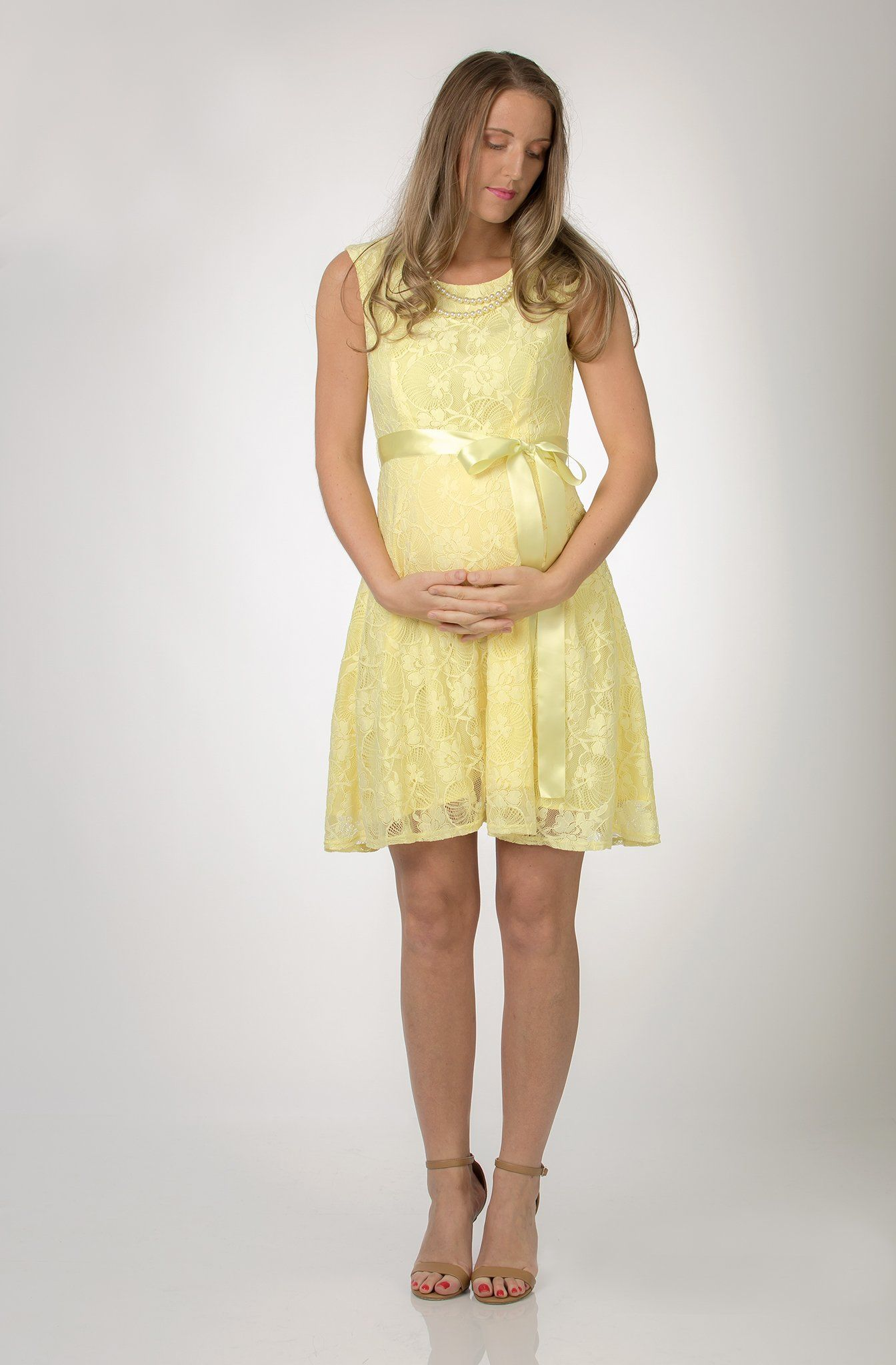 6e9c5516f9775 Yellow Lace Baby Shower, Evening, Formal Maternity Dress - Maternity ...