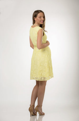 Yellow Satin Lace Maternity Dress