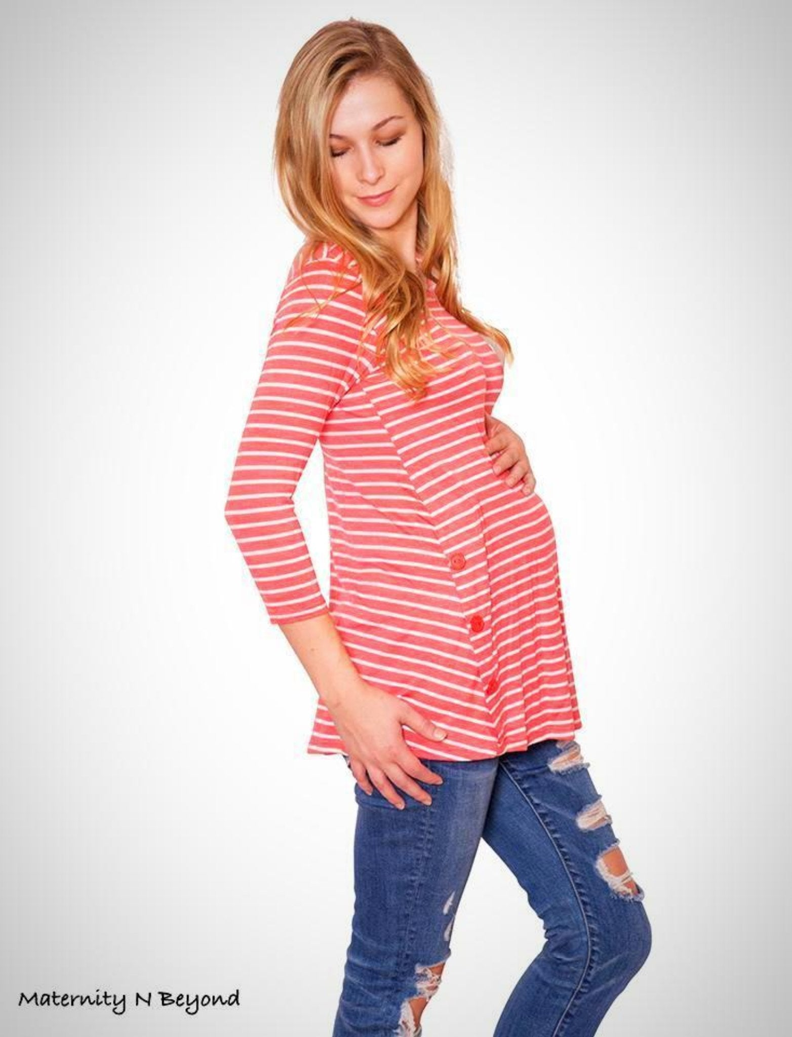 dea8e509f9782 Striped Maternity Top in Coral - Maternity N Beyond