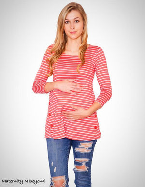 Coral Round Neck Knit Top with White Stripes