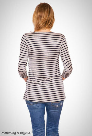 Grey Round Neck Knit Top with Navy Stripes