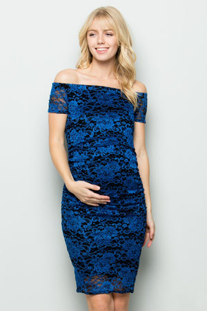 Navy Off Shoulder Lace Maternity Dress