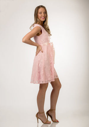 Pink Satin Lace Maternity Dress