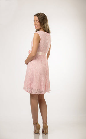 Pink Satin Lace Maternity Dress - ON SALE