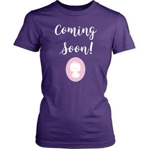 Coming Soon Pregnancy Announcement Round Neck Shirt
