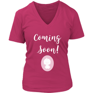 Coming Soon Pregnancy Announcement V-Neck Shirt