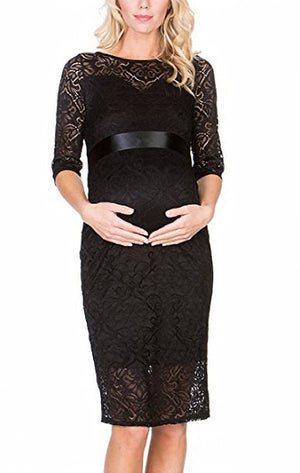 Half Sleeve Lace Maternity Dress - ON SALE