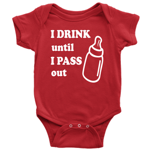 Drink until pass out Baby Onesie - Light Print