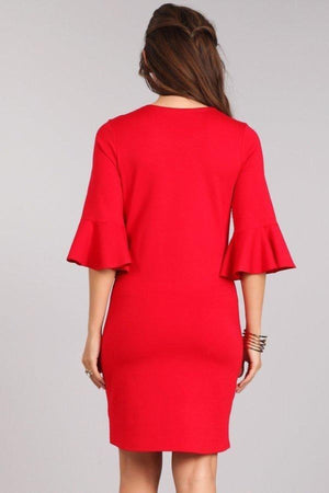 Red Bodycon Dress with Bell Sleeves
