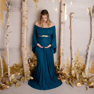 Off Shoulders Maternity Solid Dress