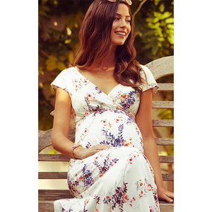 Floral pattern Short-Sleeved Maternity and Nursing Dress