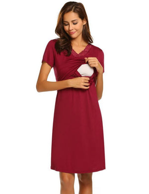 Lace Maternity Nursing Nightdress