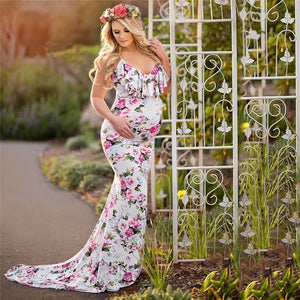 Floral Baby Shower and Photoshoot Maternity Dress