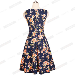 Floral Print Sleeveless Knee-Length Dress