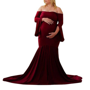 Shoulders Flare Sleeve Long Maternity Dress