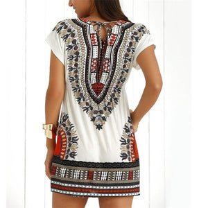 Fashion Casual Printed V-Neck Mini Dress