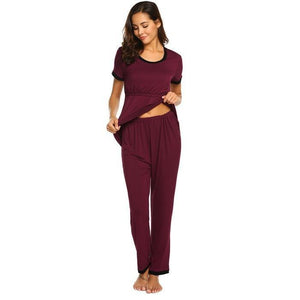 Round Neck Maternity Nursing Pajama Set