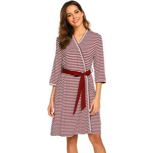 Striped Maternity Nursing Sleepwear & Bath Robe