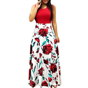 Sleeveless Boho Floral Printed Maxi Dress