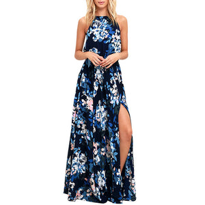 Floral Print Sleeveless Split Maxi Dress