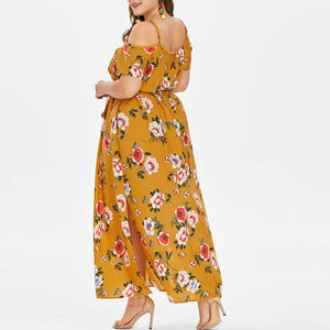 Boho Style Floral Print Long Regular & Plus Size Dress