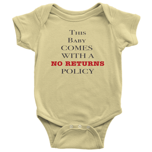 No Returns Baby Onesie NB-24M - Dark Print