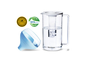 Water Filter Pitcher with Portable Water Filter & Ice Tube Infuser, Patented ACF Technology