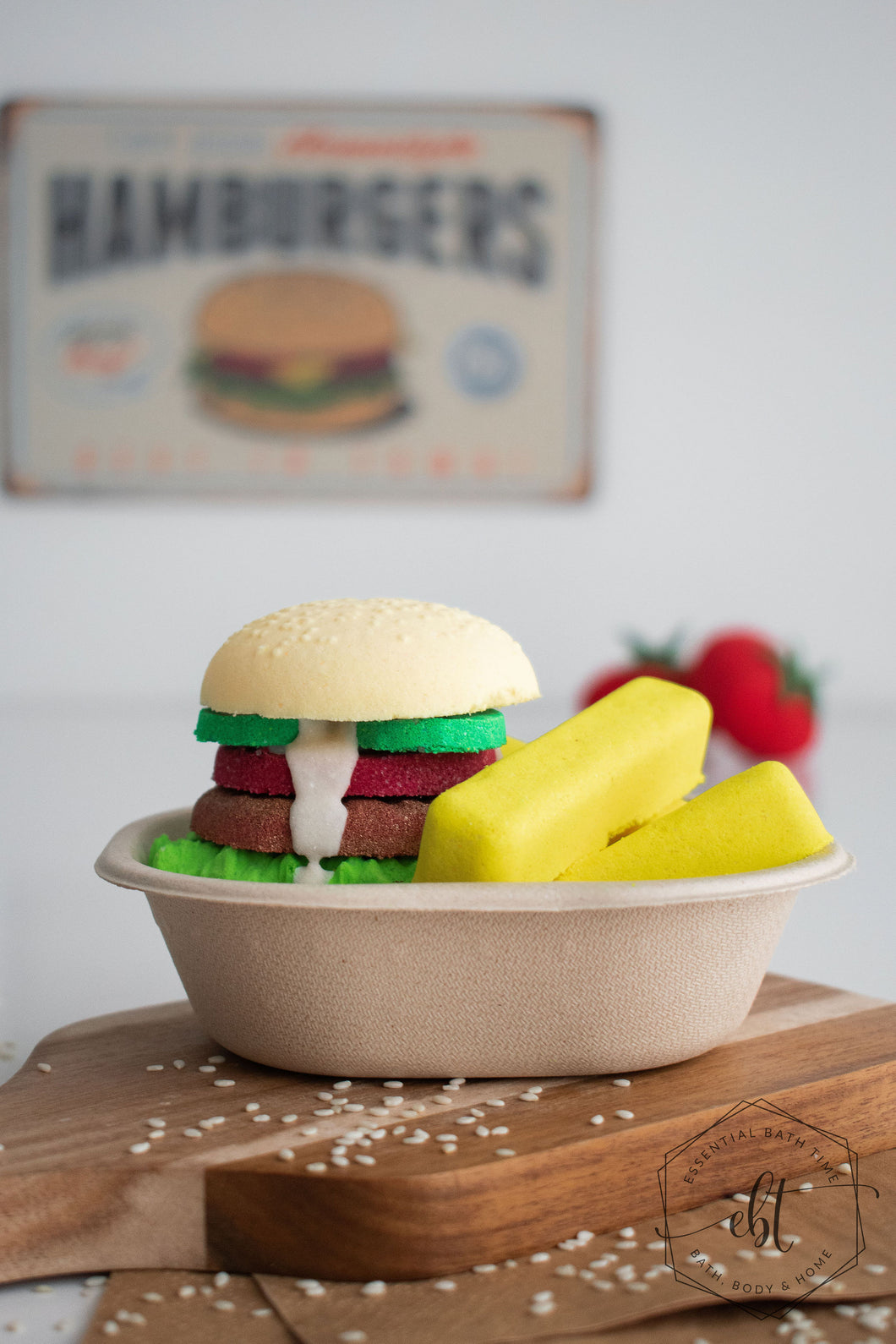 EBT Clubhouse burger and fries bath bomb pack - Essential bath time