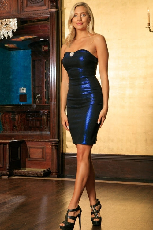 Navy Blue Metallic Strapless Sweetheart Bodycon