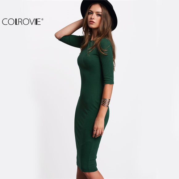 Dresses Sexy 2017 New Arrival Casual Green Crew Neck Half Sleeve Midi Dress. Free Shipping