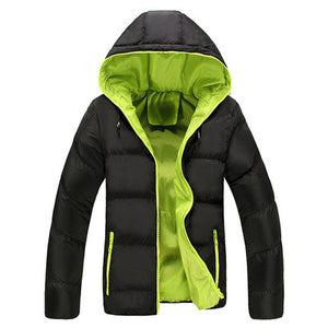 Jacket with thick quilted hood for men new