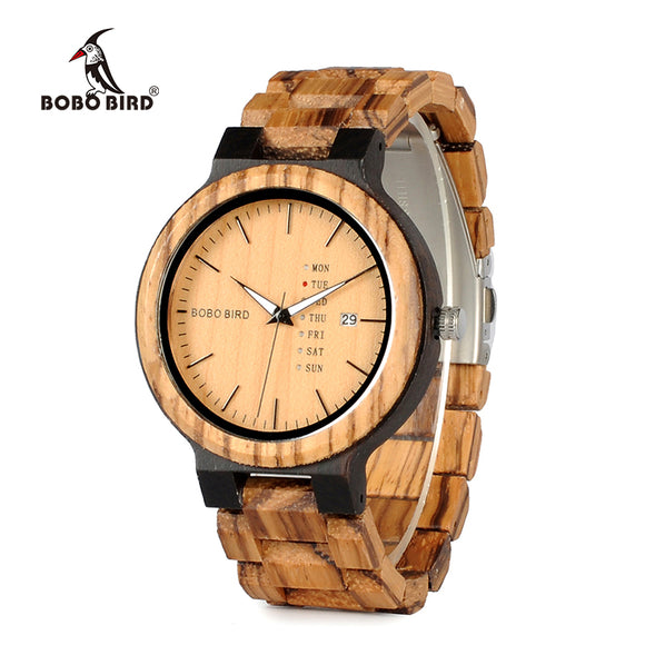 Newest Wood Watch for Men with Week Display Date Quartz Watches Two-tone Wooden