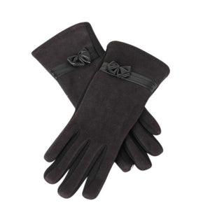 Suede Elegant Women Gloves Winter Warm Soft Wrist Bow Touchscreen Gloves Female Mittens