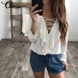2018 Fashion Spring Summer Women Chiffon Blouse Sexy Lace Up V Neck Ruffles Long Sleeve Black White. Free Shipping