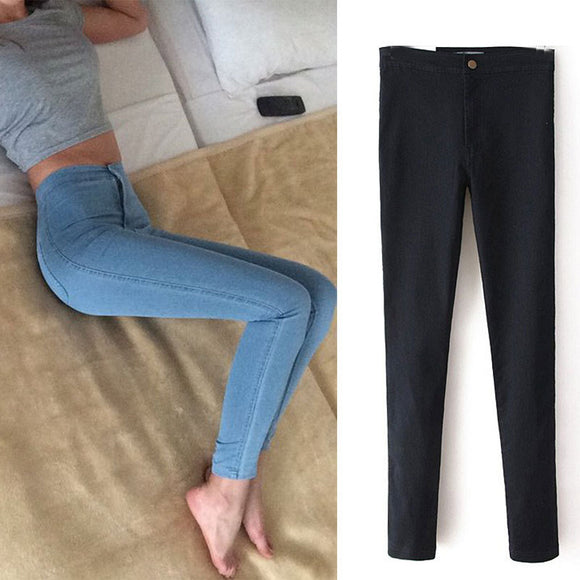 Slim Jeans For Women Skinny High Waist Jeans  Blue Denim Pencil Pants . Free Shipping