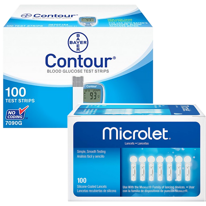 Bayer Contour Test Strips (100 Ct.) + Microlet Lancets (100 Ct.)