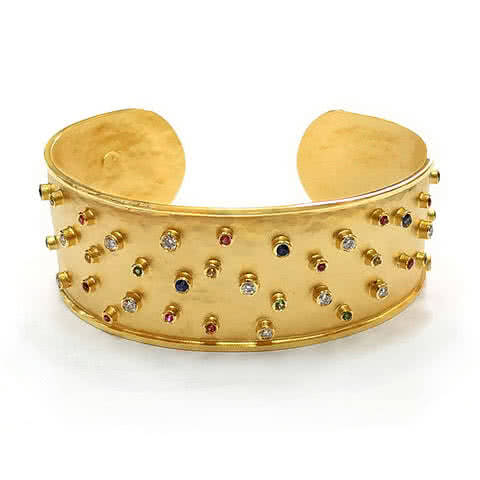 Multi Coloured Sapphire Cuff Bangle