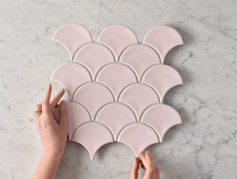 Coral Bay Gloss Pink Fish Scale Tile