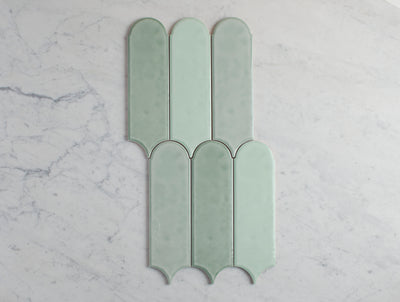 Fitzroy Gloss Mixed Green Feather Tile