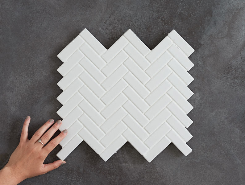 Wellington Matt White Herringbone Tile