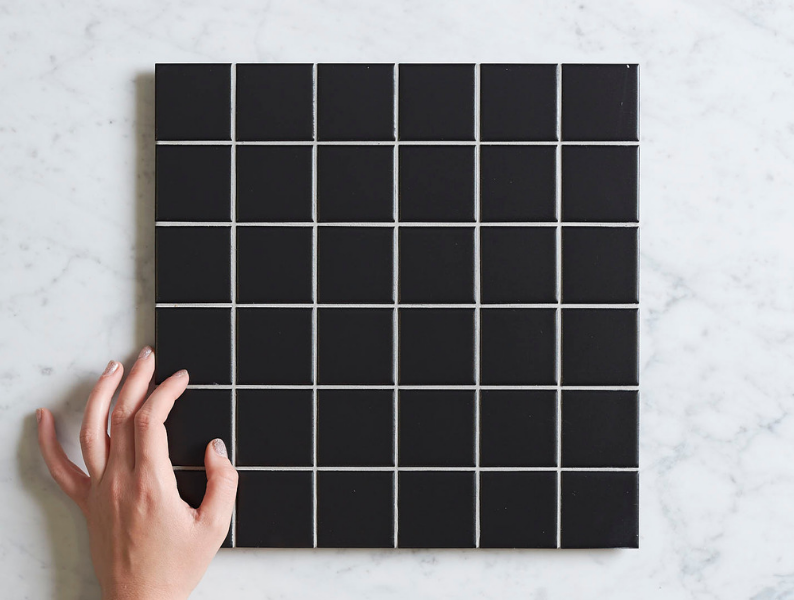 Haddon Black Matt Medium Square Tile