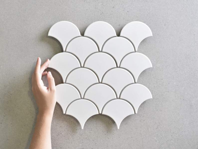 Coral Bay Matt White Fish Scale Tile
